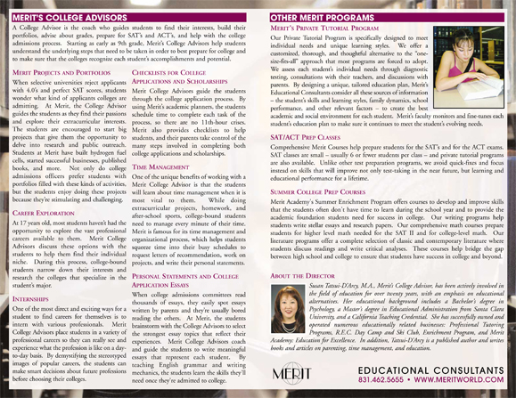 merit college advisory brochure college advisor college prep  top