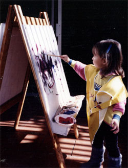 Painting develops an early sense of space, color, and coordination